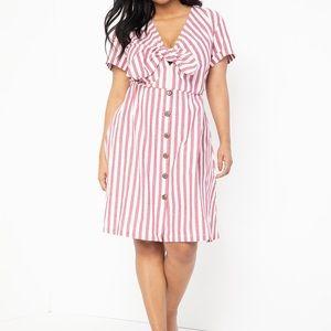Striped tie front dress